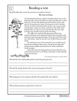 4th grade Reading, Writing Worksheets: Reading