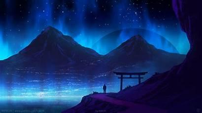 Artwork 4k Digital Landscape Mountains Sky Night
