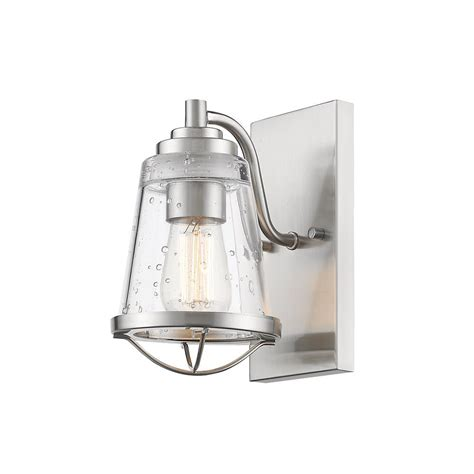 filament design lorinda 1 light brushed nickel wall sconce with clear seedy glass shade hd
