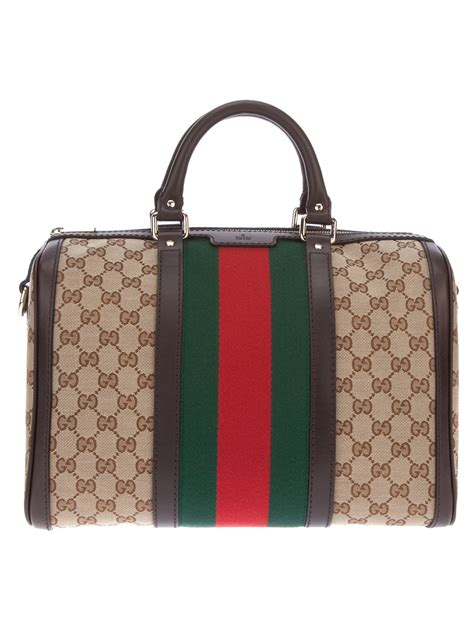 lyst gucci vintage web boston bag  brown