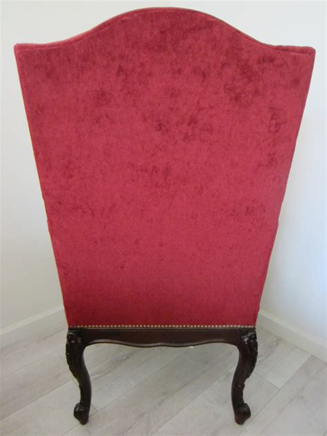 colonial style textile wood high back arm chair