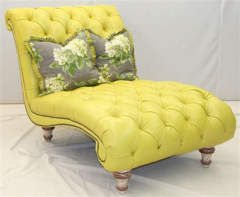 fly by tufted yellow chaise