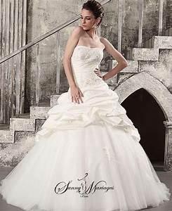 Robe de mariee princesse avec bustier et jupe en tulle for Robe de mariée créateur pas cher