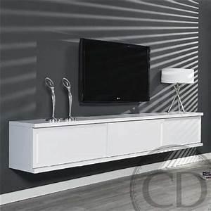 Meuble Tv Blanc Suspendu : meuble tv suspendu xl design 70 39 ties coupdecoeur ~ Dode.kayakingforconservation.com Idées de Décoration