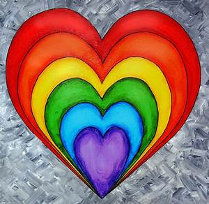 Rainbow Heart On Grey Painting by Tim Shanley