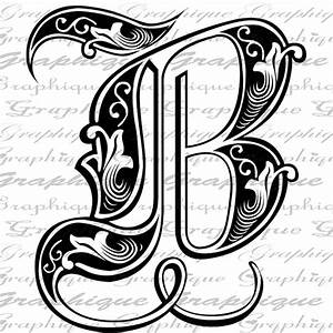 letter initial b monogram old engraving style type text With initial letters