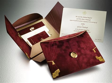 luxurious burgundy  gold wedding invitations