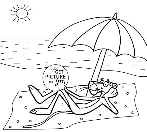 pink panther   beach coloring pages  kids