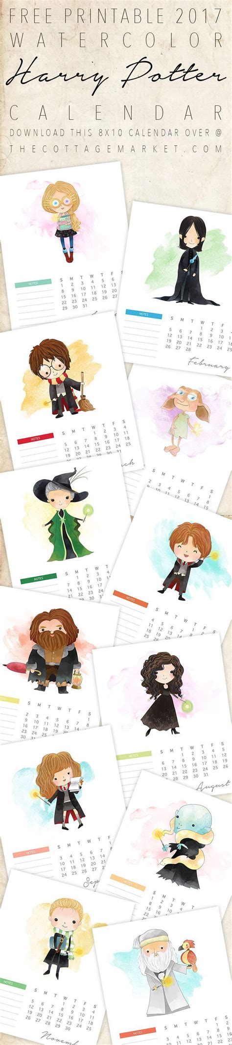 printable watercolor harry potter calendar harry