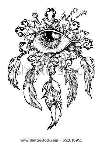 handmade, Native American Indian talisman dreamcatcher with feathers. Vector hipster