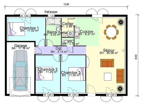 plan de maison 3 chambres plain pied plan de masse de maison avec 3 chambres salon cuisine et