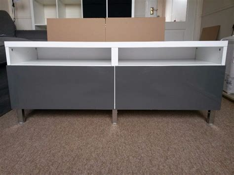 Ikea Besta White Grey Tv Bench, Like New