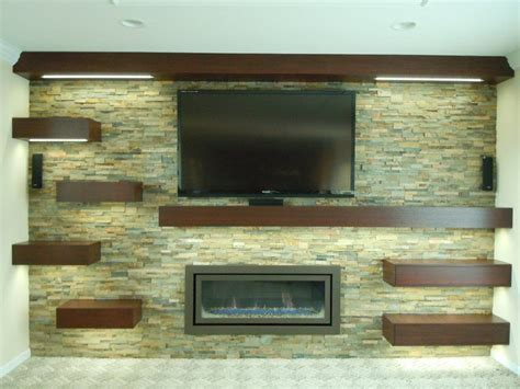 gas fireplace unit custom wall unit with rock wall mahogany removable