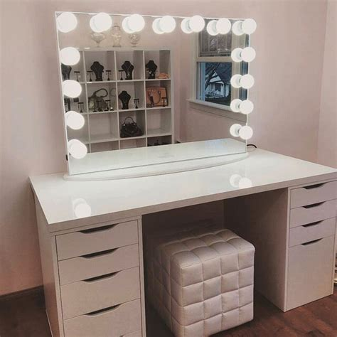 desk with drawers and mirror instagram post by impressions vanity co