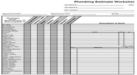 plumbing estimate construction worksheet  book modern
