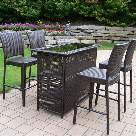 patio bar furniture oakland living all weather wicker patio bar set patio
