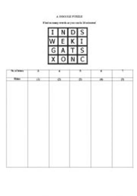 English Worksheet Word Boggle