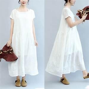 summer white casual cotton dresses plus size embroidery With cotton summer dresses with sleeves
