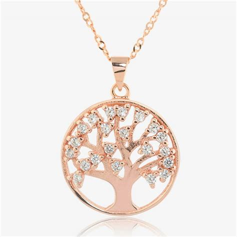 sterling silver lifes tree necklace  rose gold finish