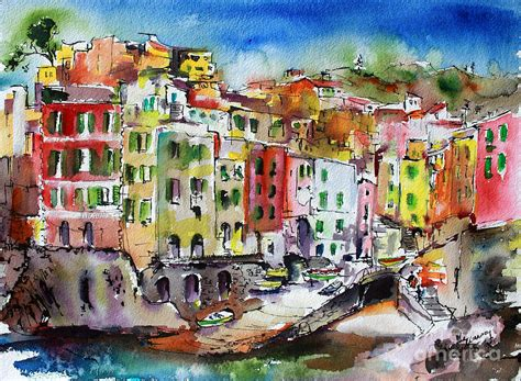 Riomaggiore Cinque Terre Painting By Ginette Callaway
