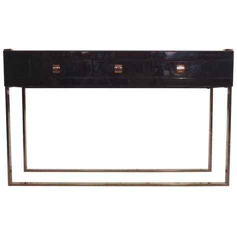 Gorgeous Black Glass Console Table At 1stdibs