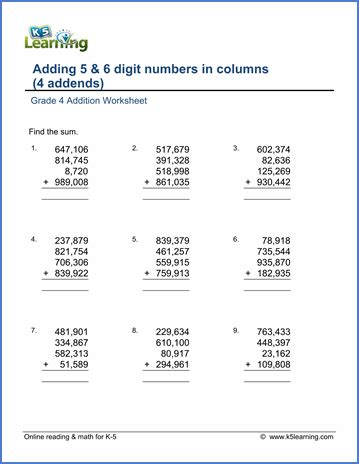 grade 4 math worksheet addition adding four 5 and 6
