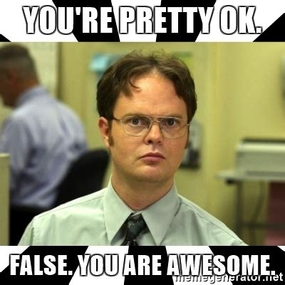 You Are Awesome Meme - you re pretty ok false you are awesome dwight from the office meme generator