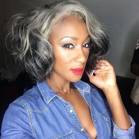 beautiful woman with silver black white gray hair