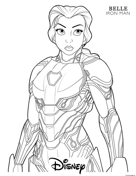 iron man belle disney avengers coloring pages printable