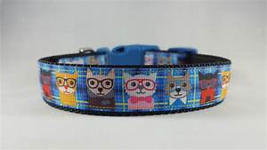 blue cats wglasses dog collar mediumlarge