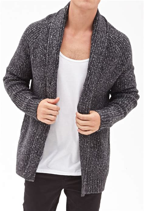 cable cardigan sweater forever 21 cable knit cardigan in gray for lyst