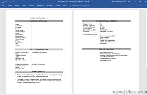 template resume bahasa melayu myrujukan