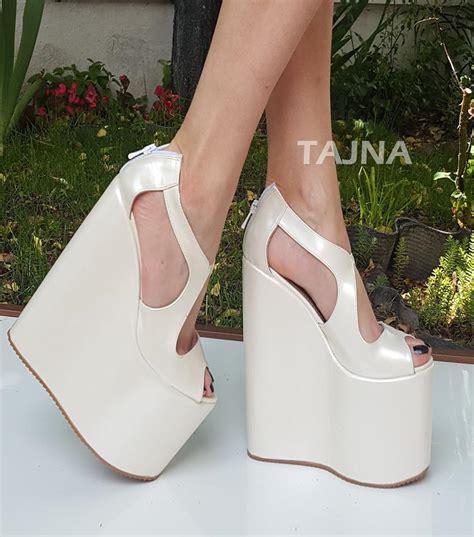 00da059c8a1 white wedge wedding shoes ivory white high heel bridal wedges tajna club  1374