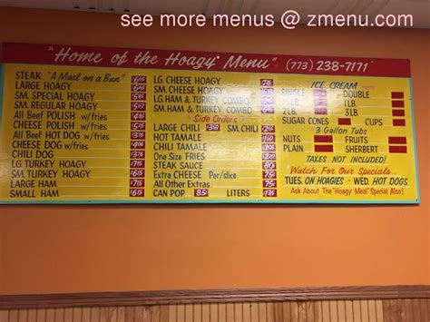 Online Menu Of Home Of The Hoagy And The Famous Steak