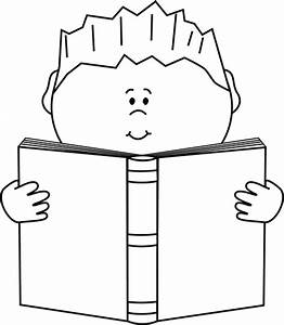 Black and White Boy Reading a Book Clip Art - Black and ...