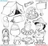 Camping Gear Coloring Pages Outlined Clipart Collage Digital Illustration Royalty Visekart Rf Print Background sketch template
