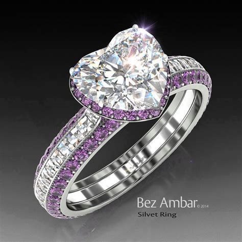 silvet amethyst engagement ring set for shape bez