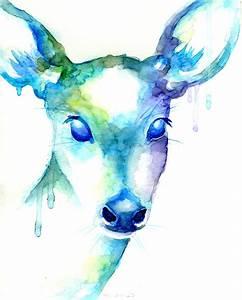 Rain Deer Abstract Doe Painting Print Blue Green