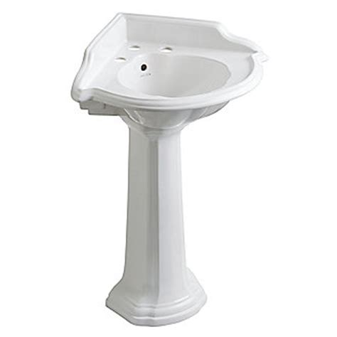 Gerbera Corner Pedestal Sink by Shown In Stucco White