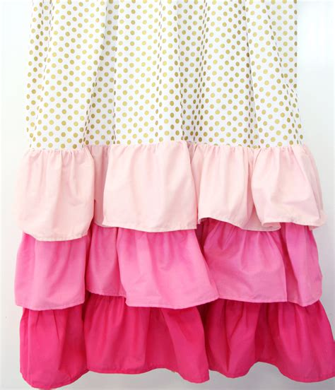 gold dot and pink ruffle curtain panels set of 2