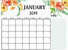 Cute January 2019 Calendar Floral WallPaper Flower Images