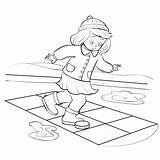 Hopscotch Outline Isolated Drawing Spring Boy Play Squares Asphalt Jumping Drawn Playing Character Cartoon Funny sketch template