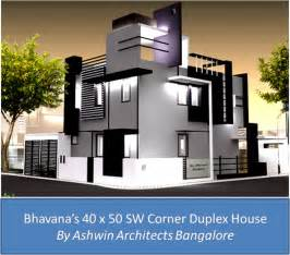 corner house plans front elevation design for bhavana s 40 x 50 sw corner duplex house in bangalore front