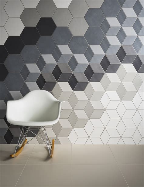 hexagonal tiles and baby block pattern bathroom