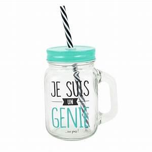 Verre Avec Paille : gobelet en verre avec paille je suis un g nie ~ Teatrodelosmanantiales.com Idées de Décoration