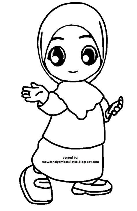 contoh gambar mewarnai anak perempuan berjilbab