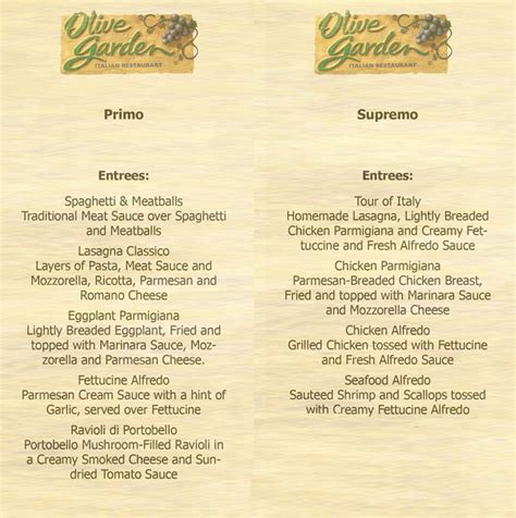 olive garden menu prices olive garden menus 7 best images of olive garden menu