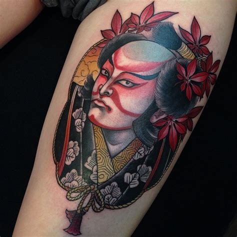 vintage style colored nice detailed thigh tattoo  asian