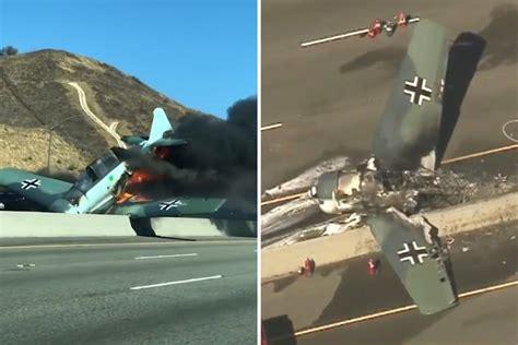 World War Ii Plane Crashes And Burns On California Highway
