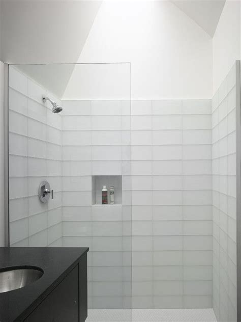 Modern Bathroom Tile Design Ideas by Bright Modern Bathroom White Tile Shower Backsplash